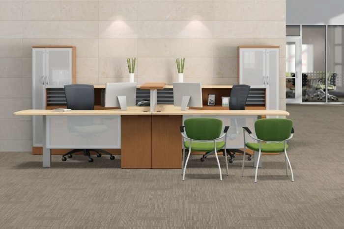 modern dual workstation office suite in light maple finish with lime green accents
