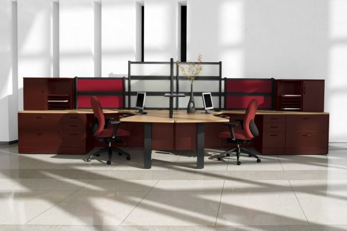 modern dual workstation office suite in light maple finish