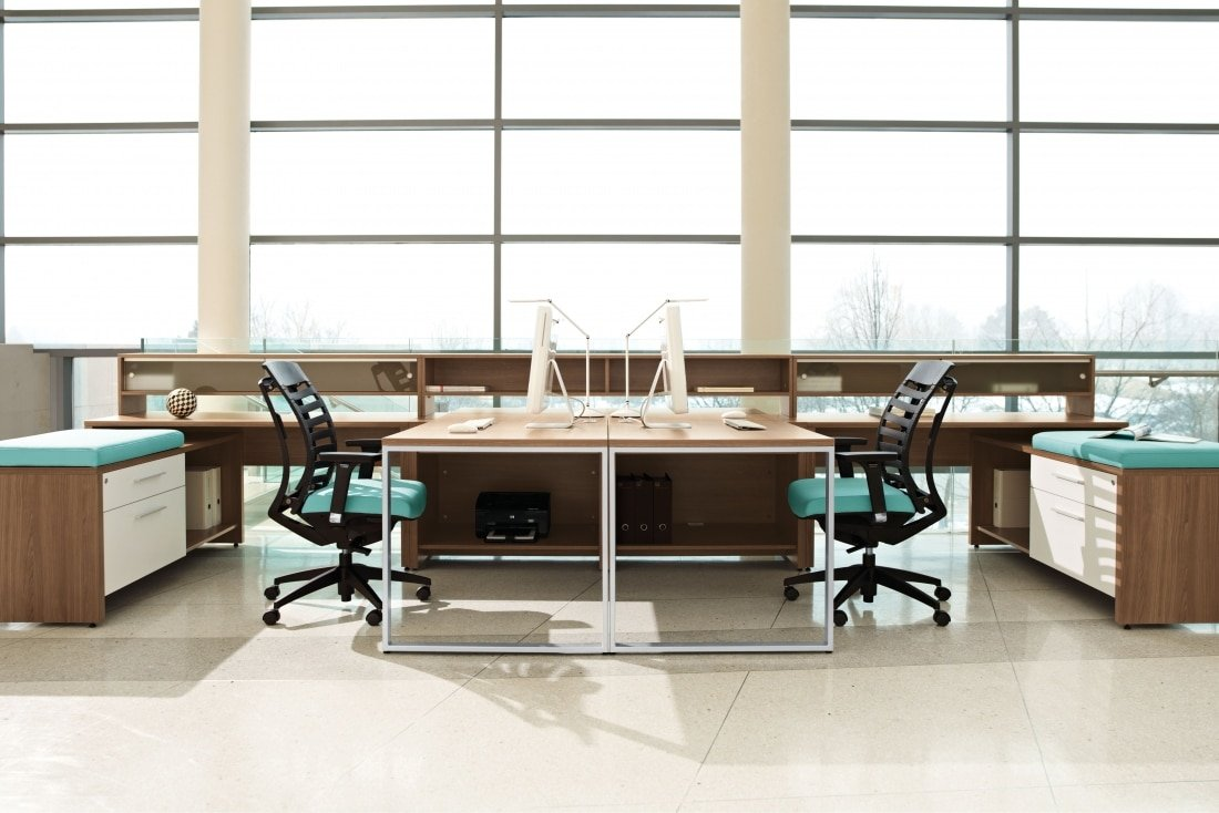 Modular Laminate Desking Collaborative Seating With Blue Upholstery Black Chairs