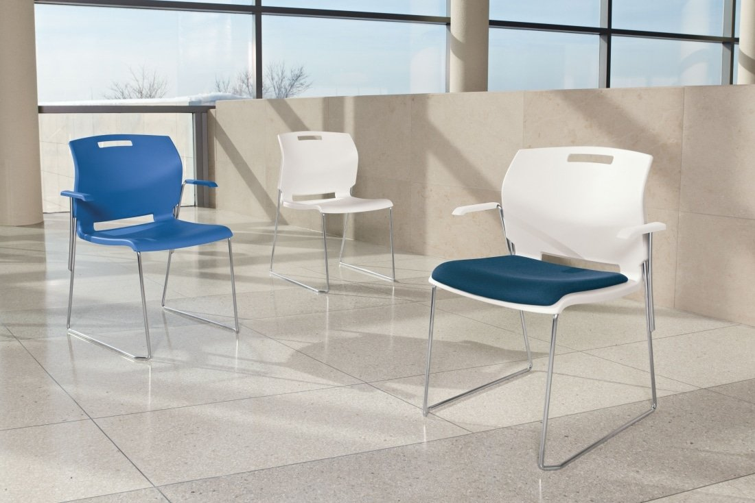 3 Popcorn Stacking Chairs, White, Blue and White with blue upolstery