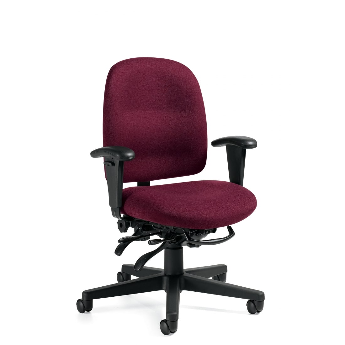 Burgundy Upholstered Industrial Cleanroom Low Back Multi-Tilter