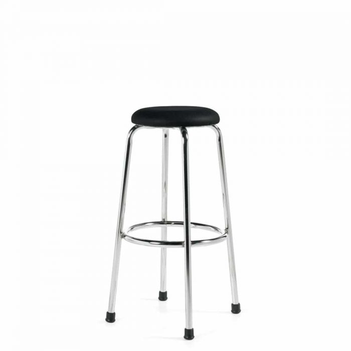 Heavy Duty Work Stool With Black Vinyl Seat and Chrome Legs