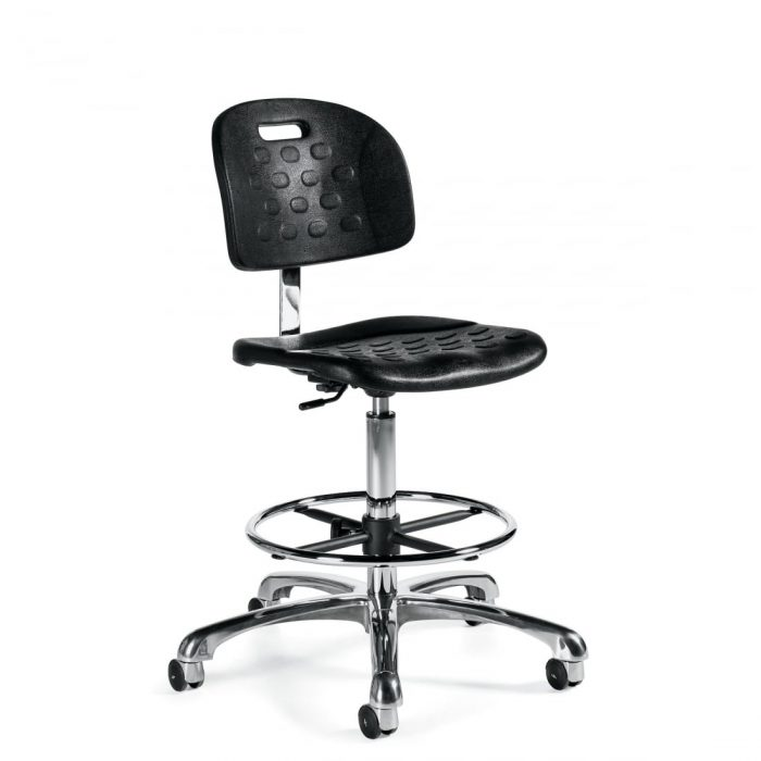 Task Stool With Black Vinyl Back and Seat With Chrome Footring