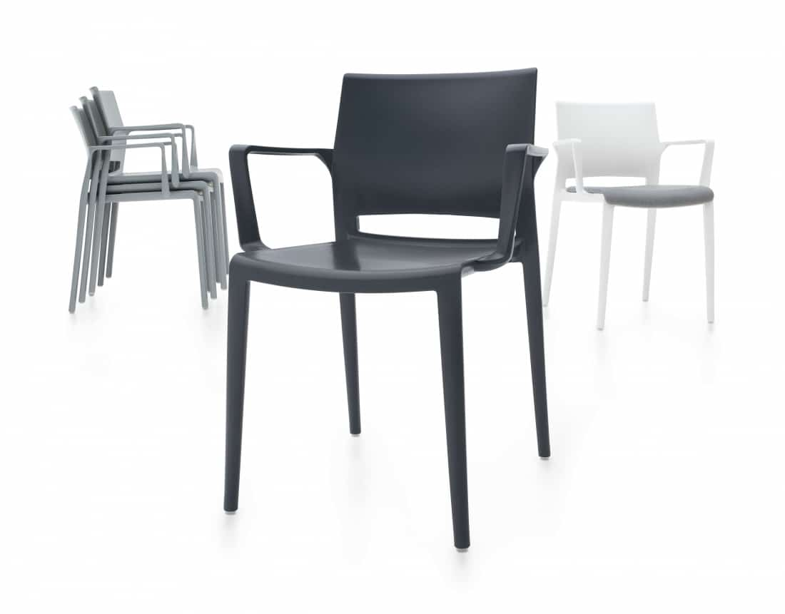 3 Bakhita Stackable Polymer chair in black, grey and white