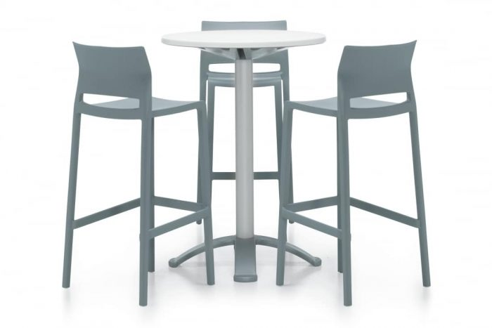 Bakhita White Round Bar Height Table With Silver Bar Stools