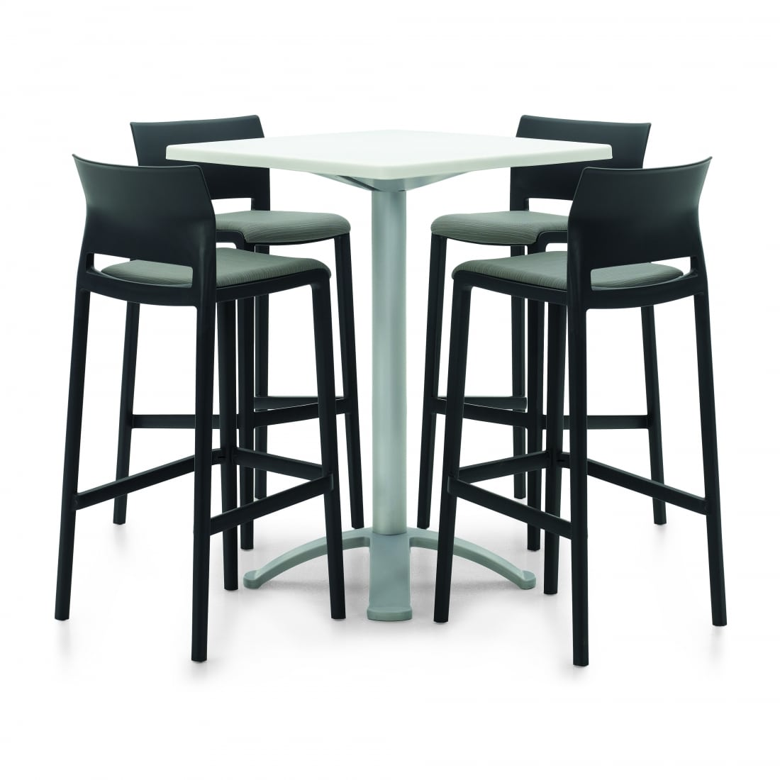 Bakhita Square Table With 4 Black Bar Stool Chairs