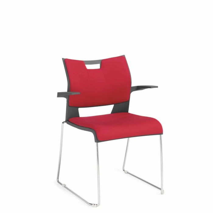 Armchair, Red Upholstered Seat & Back With Chrome Frame (6627)