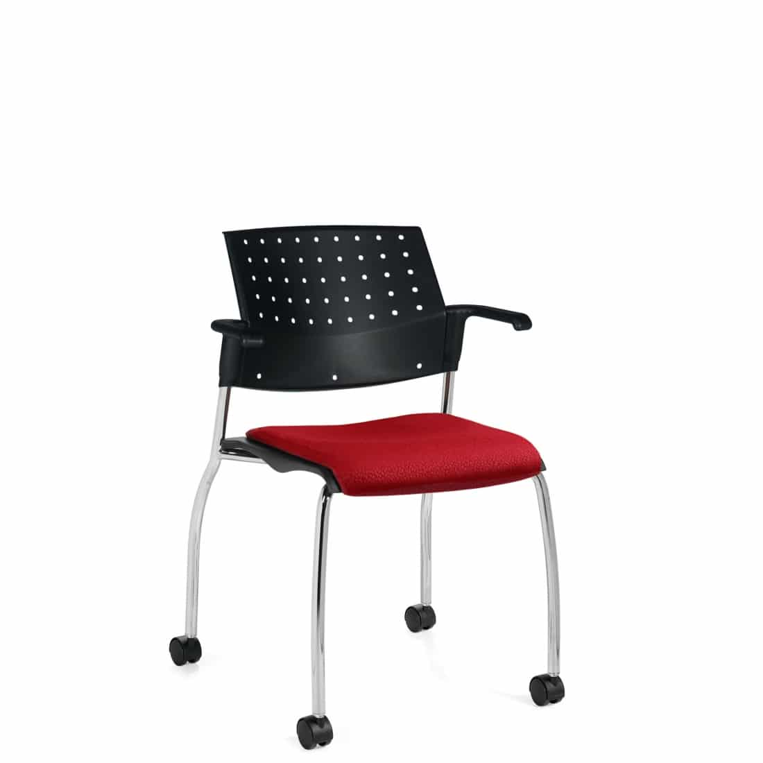 Armchair, Red Upholstered Seat & Black Polypropylene Back, Casters And Chrome Frame (6574)