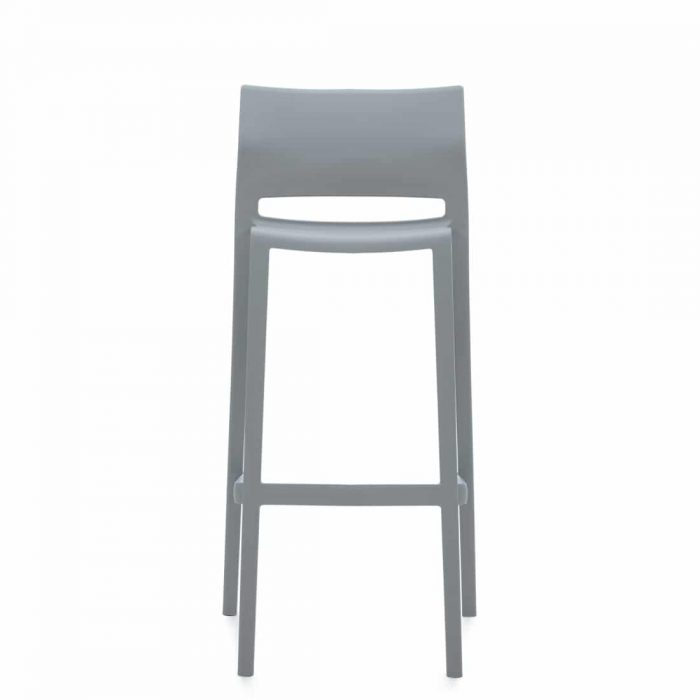 Armless Bar Stool, Grey Polymer Seat & Back (6754)