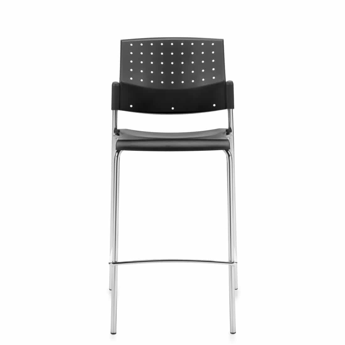 Armless Bar Stool, Black Polypropylene Seat & Back With Chrome Frame (6558)
