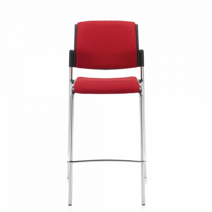Armless Bar Stool, Red Upholstered Seat & Back With Chrome Frame (6561)