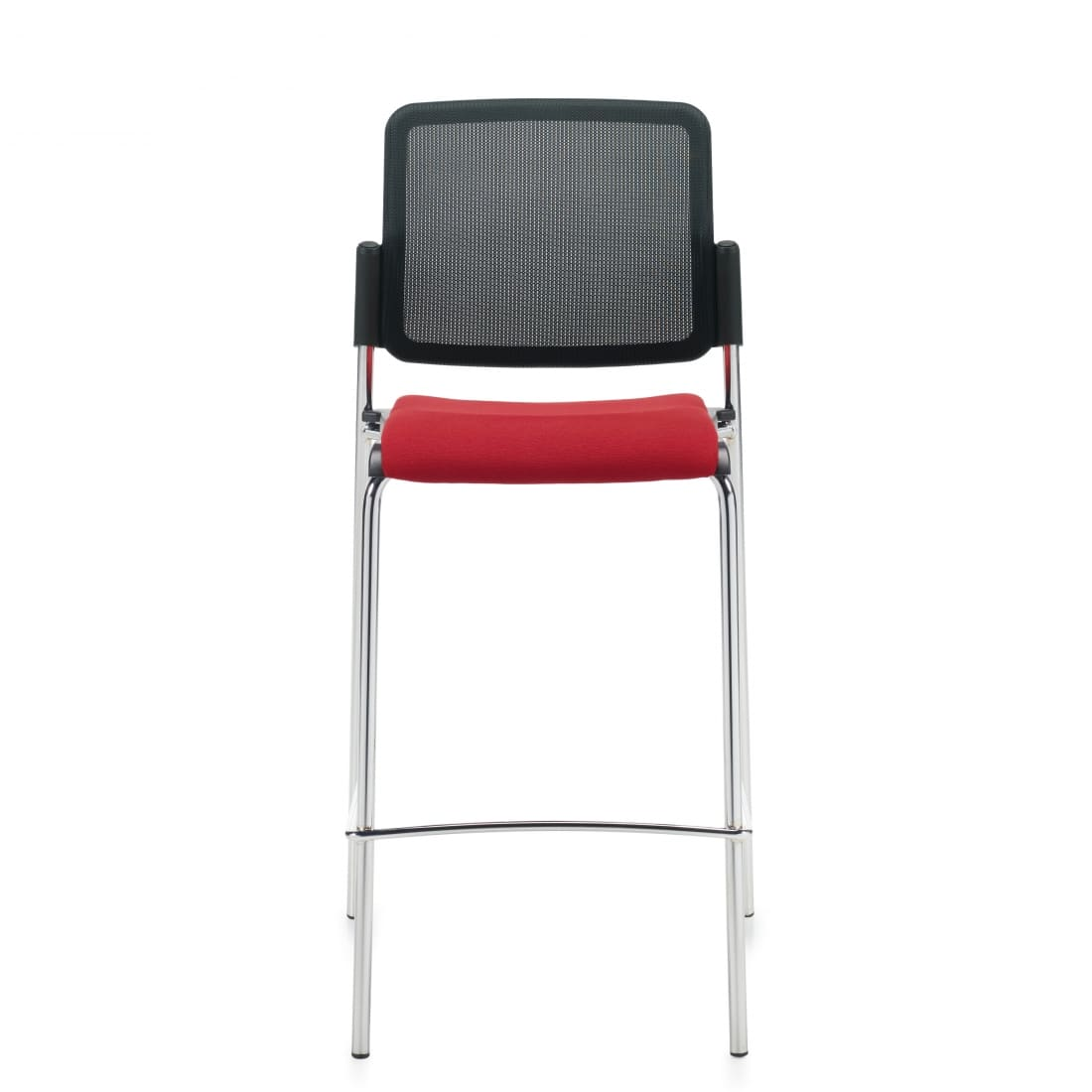 Armless Bar Stool, Red Upholstered Seat & Black Mesh Back With Chrome Frame (6559MB)
