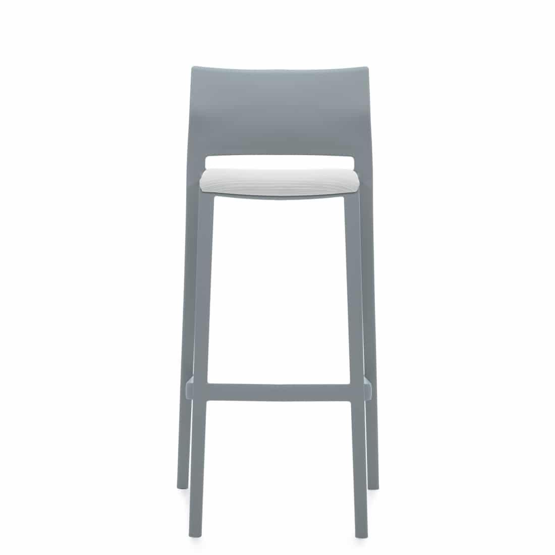 Armless Bar Stool, White Upholstered Seat & Grey Polymer Back (6755)