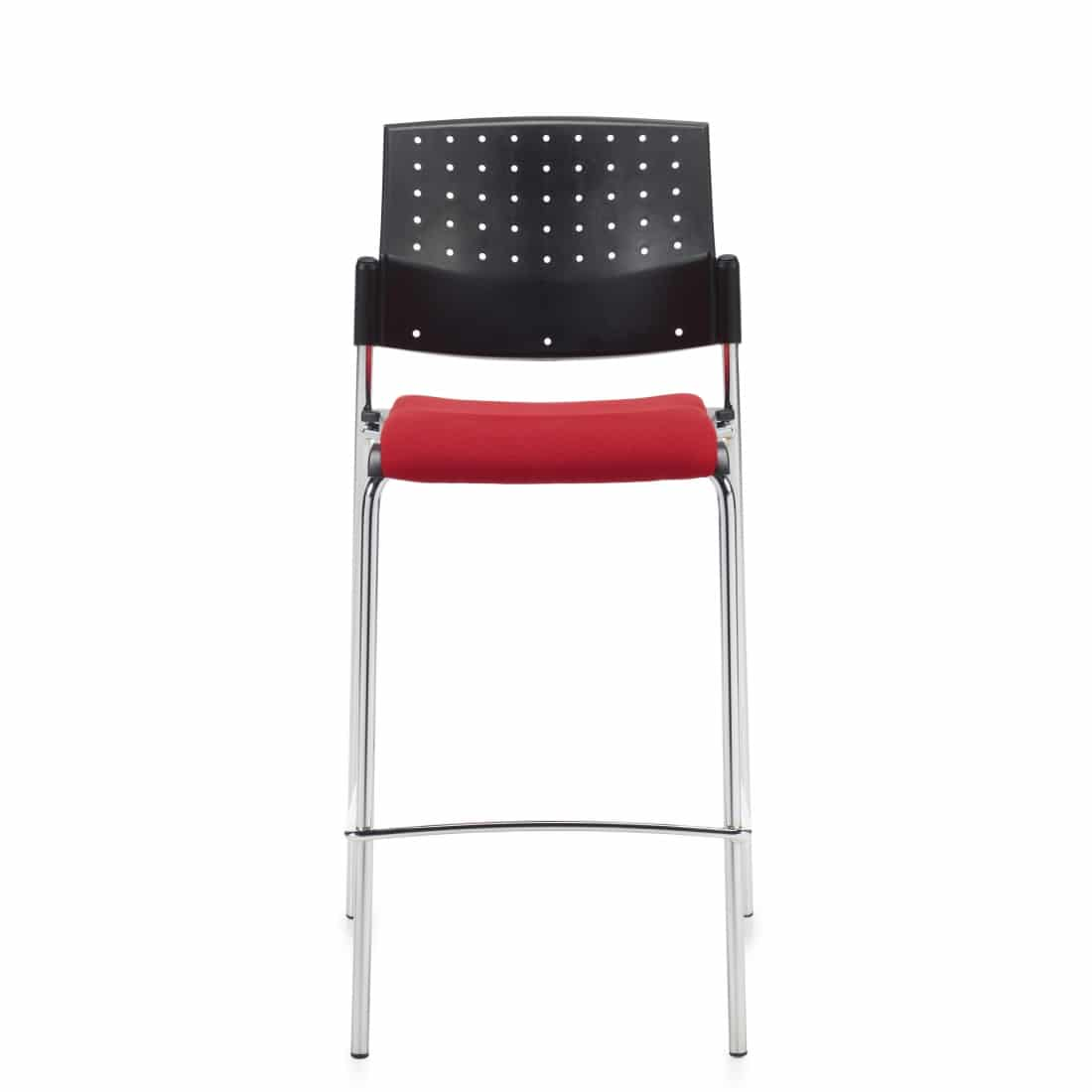 Armless Bar Stool, Red Upholstered Seat & Black Polypropylene Back With Chrome Frame (6559)