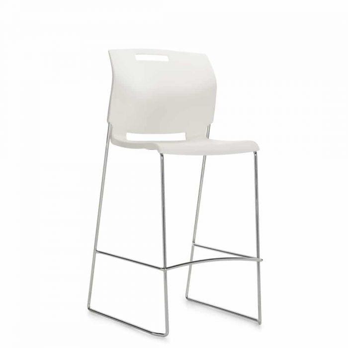 Armless Barstool, White Polypropylene Seat & Back With Chrome Frame (6711BS)