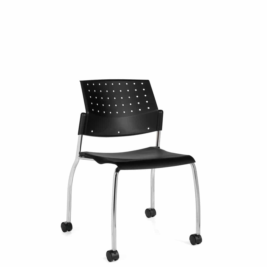 Armless Chair, Black Polypropylene Seat & Back, Casters and Chrome Frame (6577)