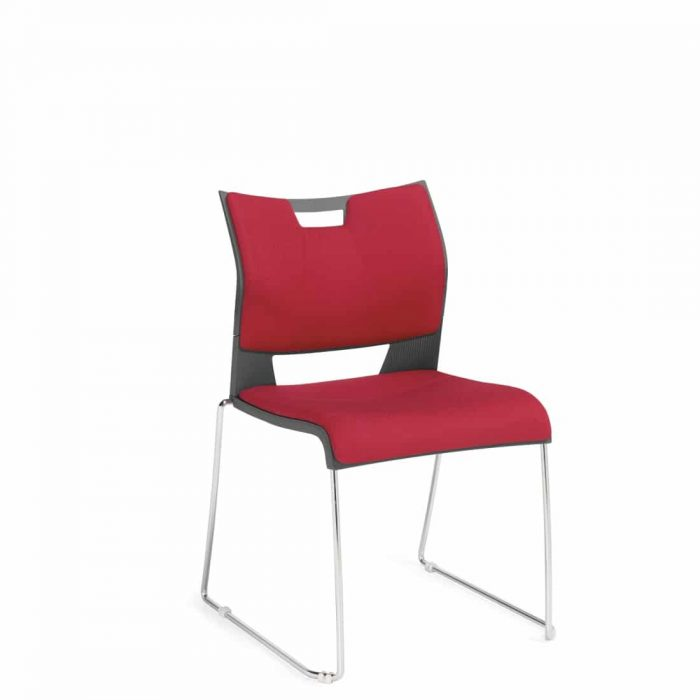 Armless Chair, Red Upholstered Seat & Back With Chrome Frame (6628)