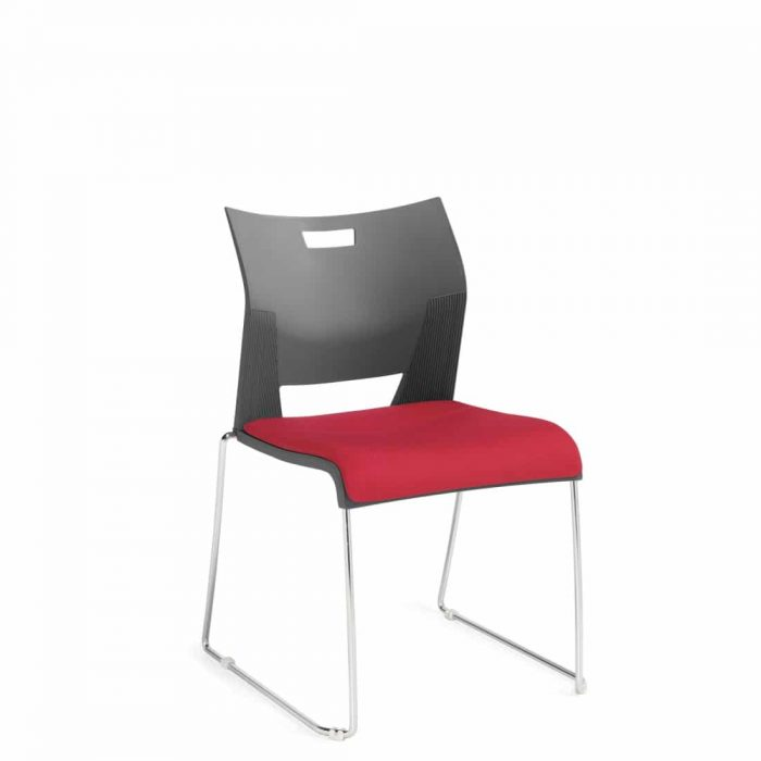 Armless Chair, Red Upholstered Seat & Grey Polypropylene Back With A Chrome Frame (6623)