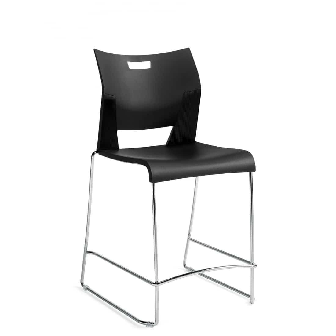 Armless Counter Stool, Black Polypropylene Seat & Back With Chrome Frame (6661)