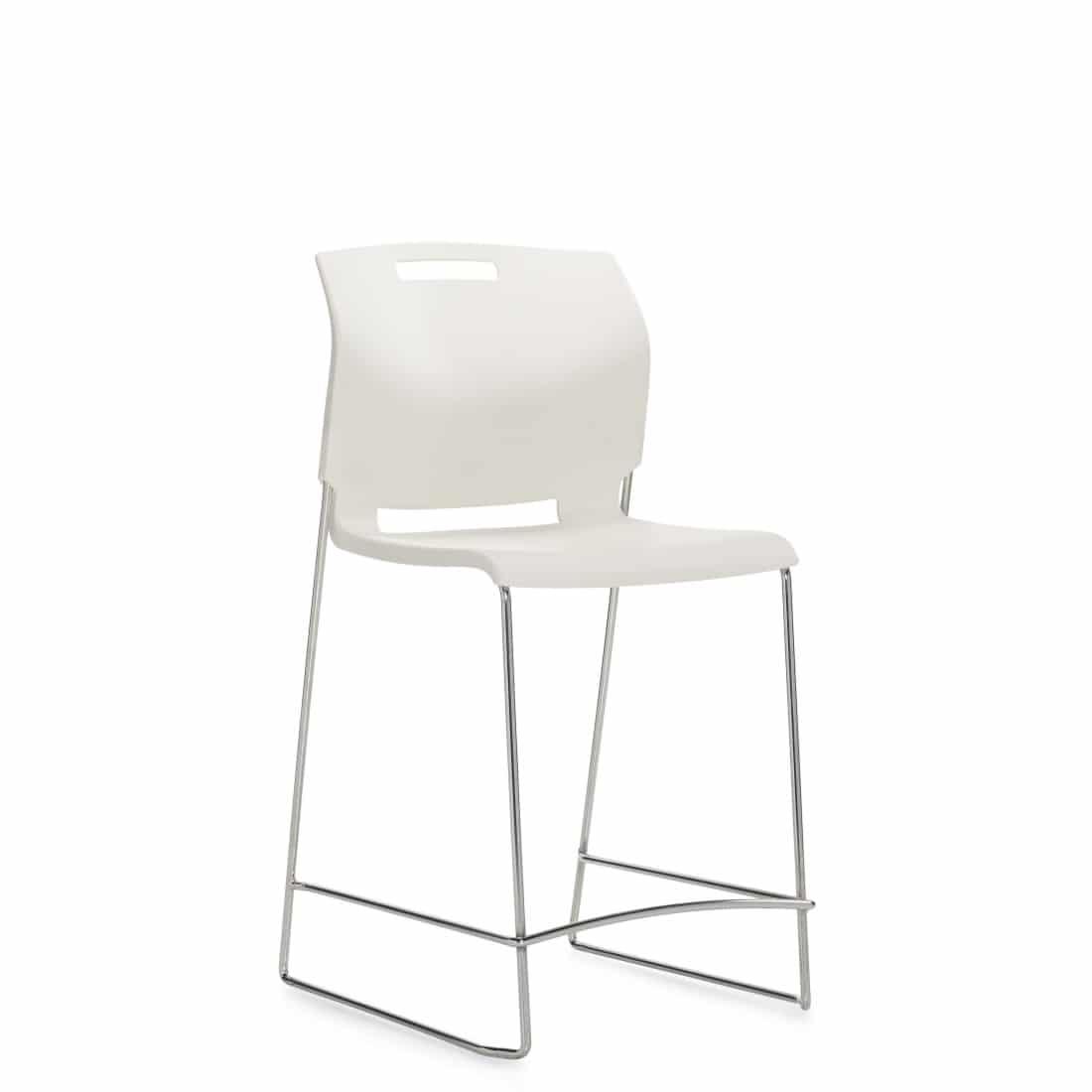 Armless Counter Stool, White Polypropylene Seat & Back With Chrome Frame (6711CS)