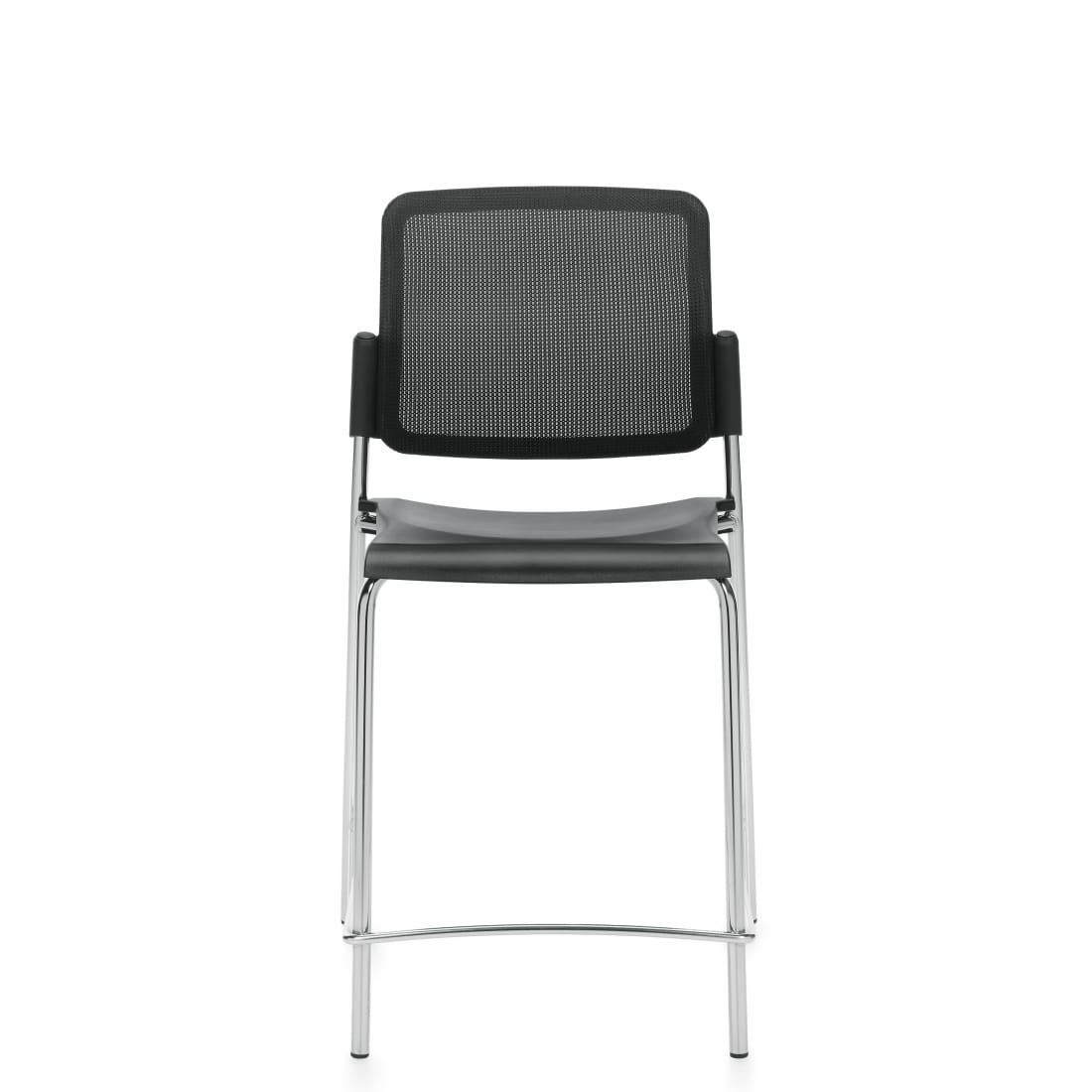 Armless Counter Stool, Black Polypropylene Seat & Mesh Back With Chrome Frame (6558CSMB)