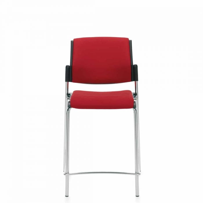 Armless Counter Stool, Red Upholstered Seat & Back with Chrome Frame (6561CS)