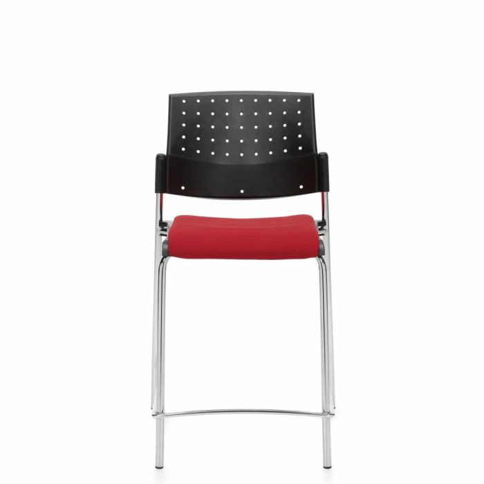 Armless Counter Stool, Red Upholstered Seat & Black Polypropylene Back With Chrome Frame (6559CS)