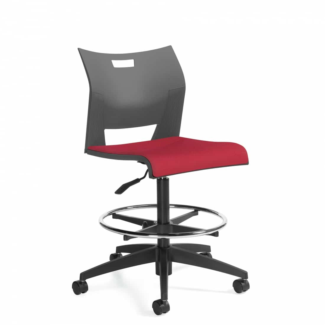 Armless Drafting Stool, Red Upholstered Seat, Grey back, footring and black casters (6733)