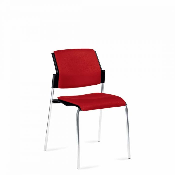 Armless Stacking Chair, Red Upholstered Seat & Back With Chrome Frame (6511)