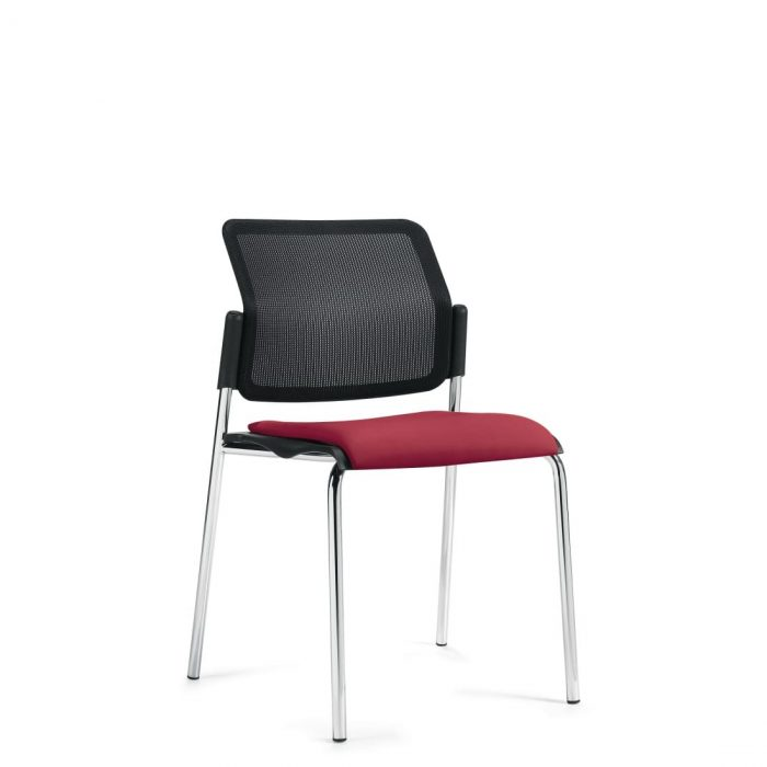 Armless Stacking Chair, Red Upholstered Seat & Black Mesh Back With Chrome Frame (6509MB)