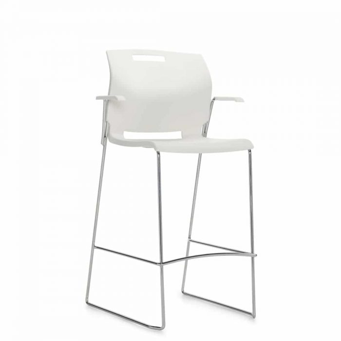 Barstool with Arms, White Polypropylene Seat & Back And Chrome Frame (6710BS)