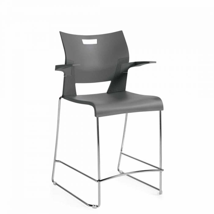 Counter Height Stool with Arms, Grey Polypropylene Seat & Back With Chrome Frame (6660)