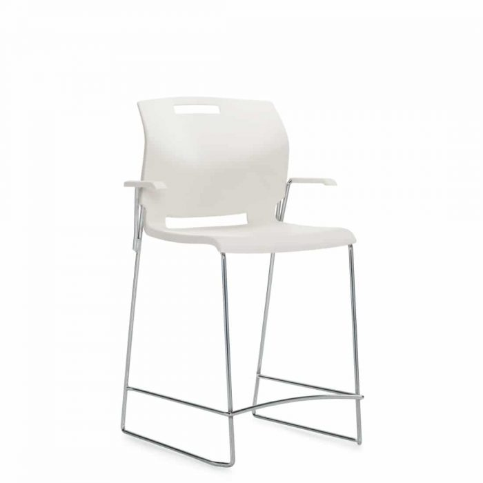 Counter Stool with Arms, White Polypropylene Seat & Back With Chrome Frame (6710CS)