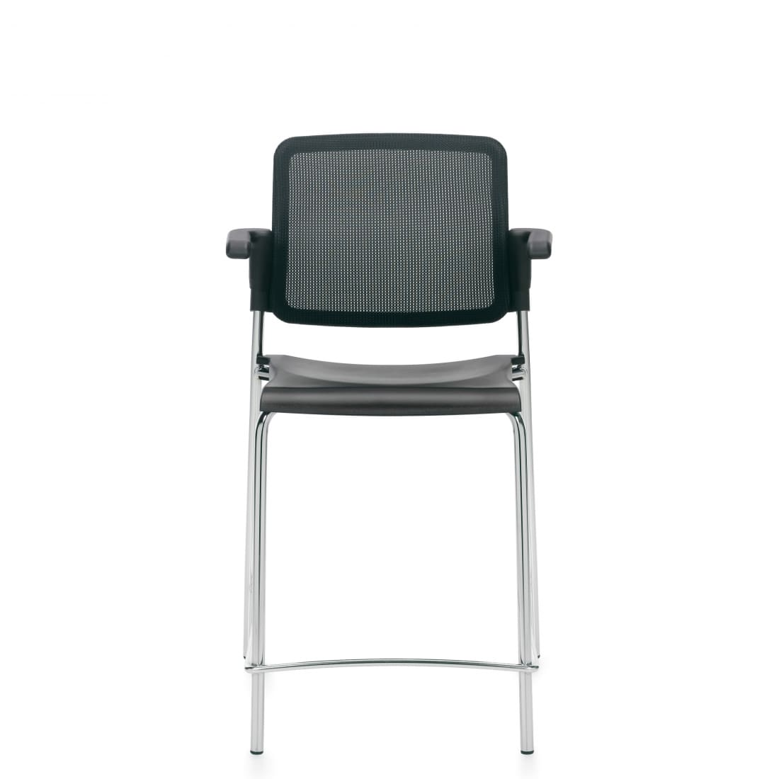 Counter Stool with Arms, Black Polypropylene Seat & Mesh Back and Chrome Frame (6563CSMB)