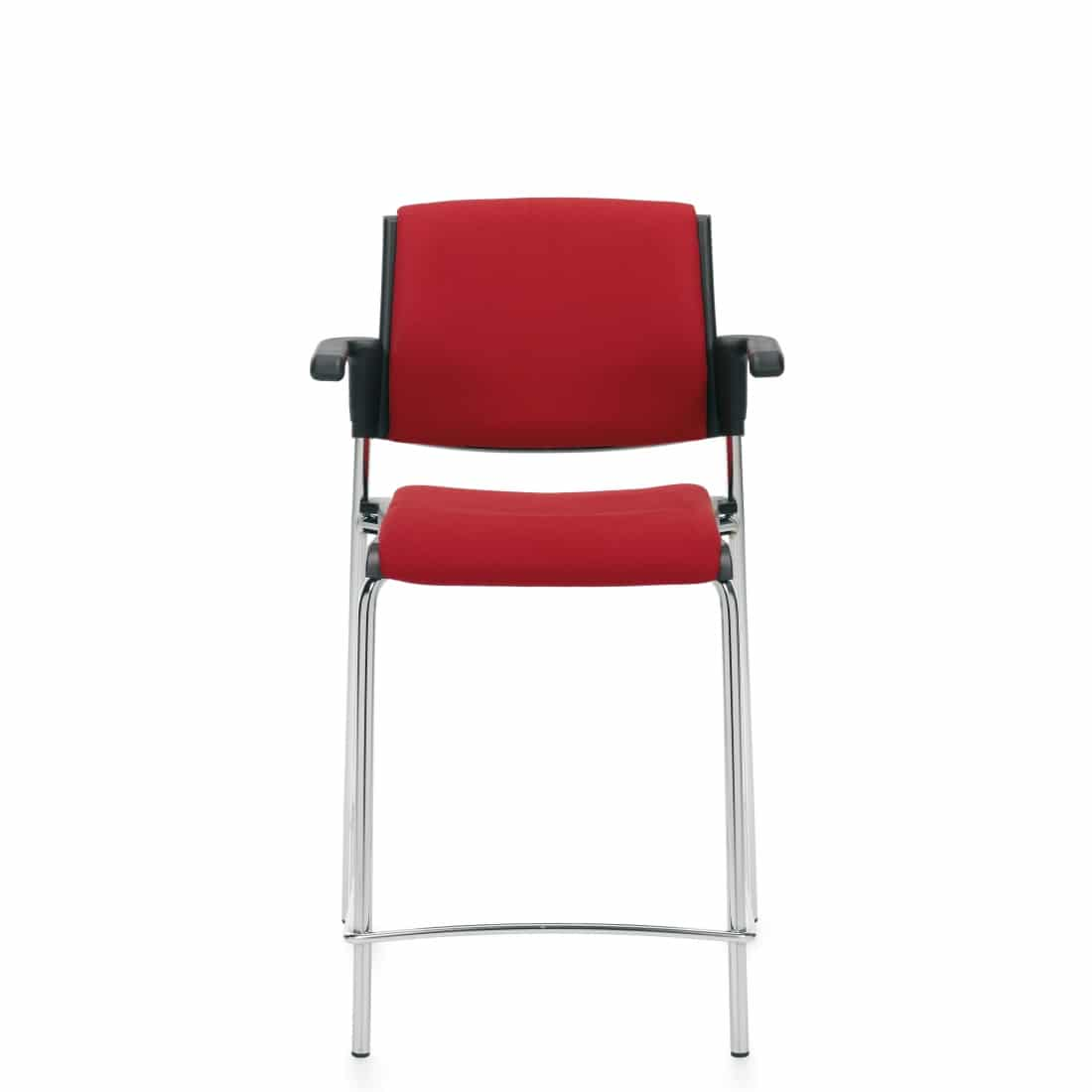 Counter Stool with Arms, Red Upholstered Seat & Back With Chrome Frame (6565CS)