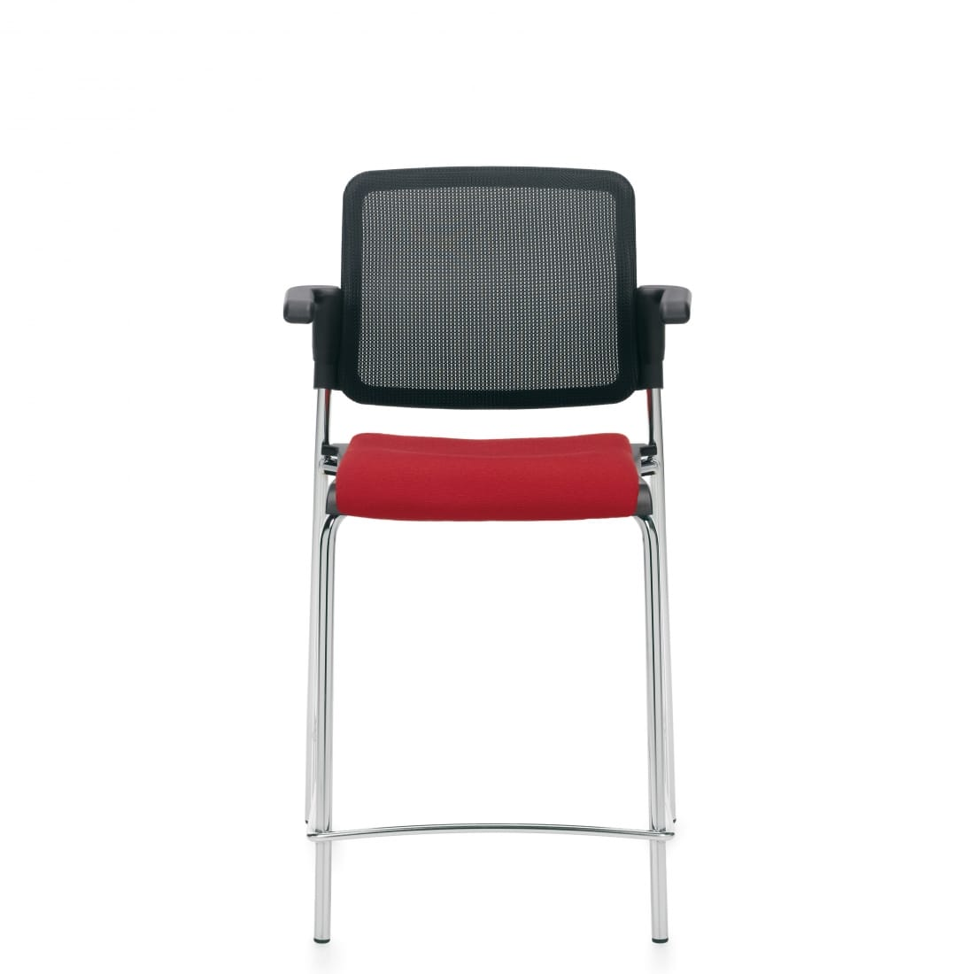 Counter Stool with Arms, Red Upholstered Seat & Black Mesh Back With Chrome Frame (6564CSMB)