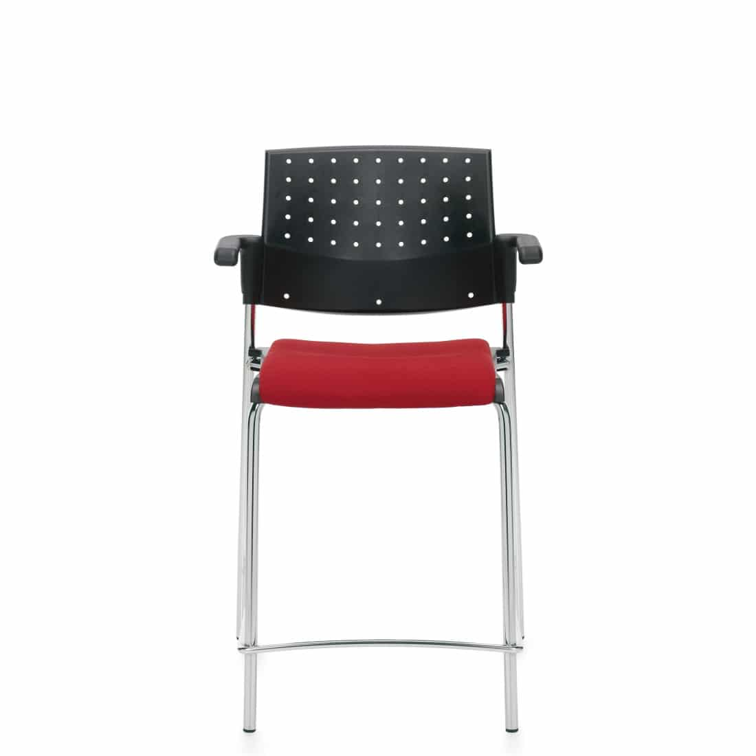 Counter Stool with Arms, Red Upholstered Seat & Black Polypropylene Back With Chrome Frame (6564CS)