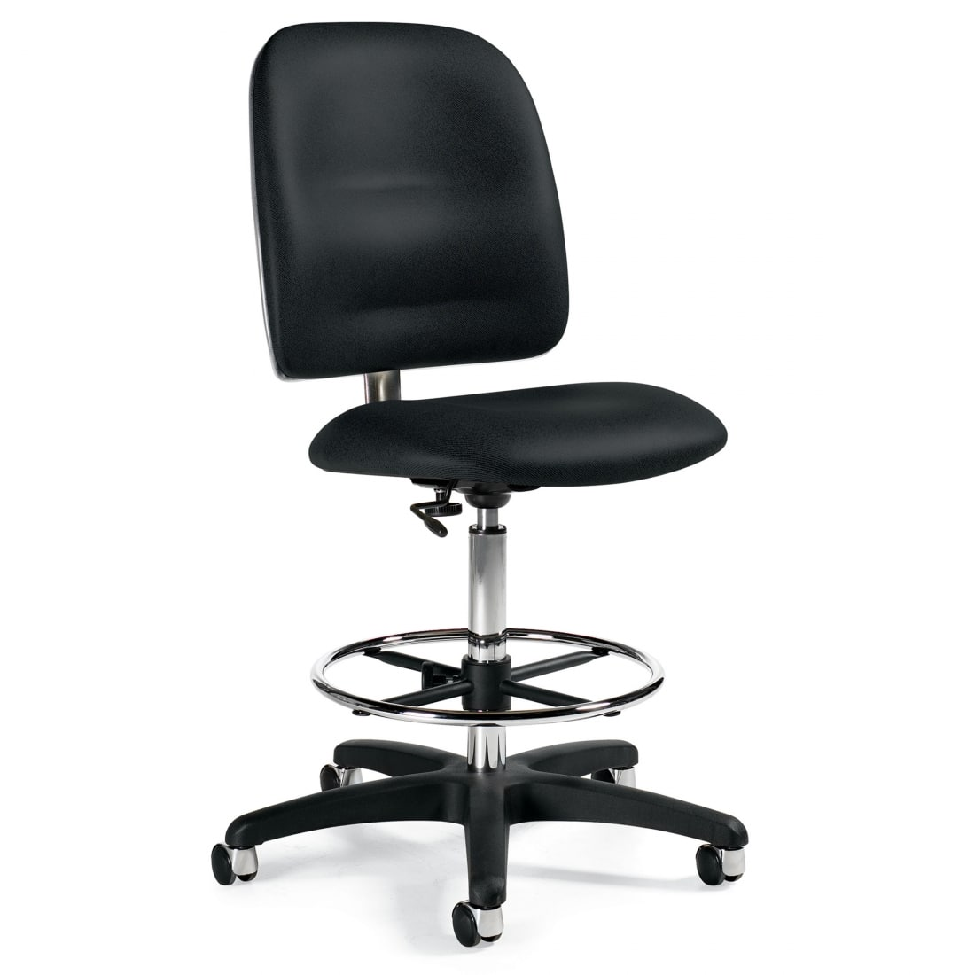 Black Industrial Granada Task Stool, Armless With Chrome Footring (3256-50)