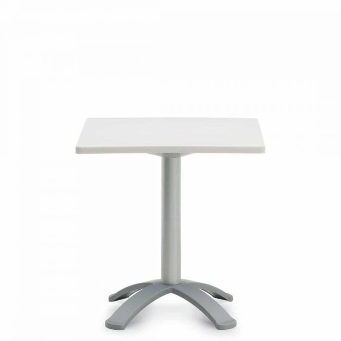 White Square Table With Grey Post (6785)