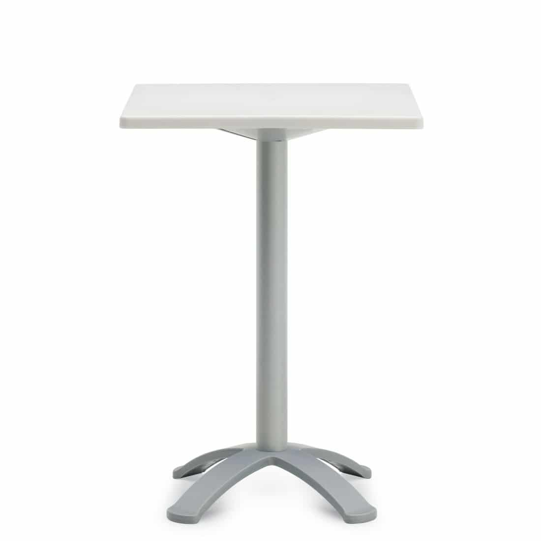 White Square Table With Grey Post, Bar Height (6786)