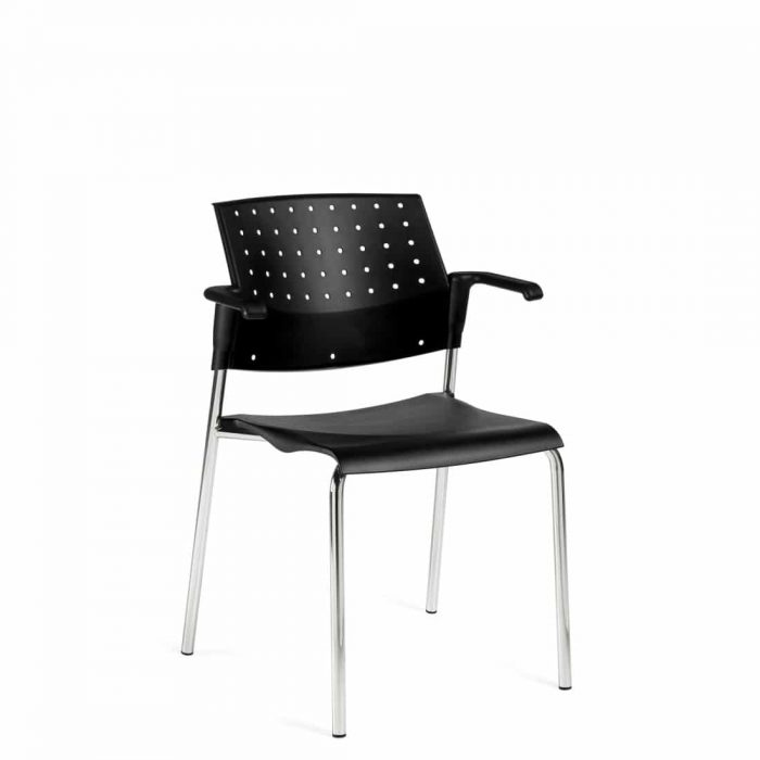 Stacking Armchair, Black Polypropylene Seat & Back With Chrome Frame (6513)