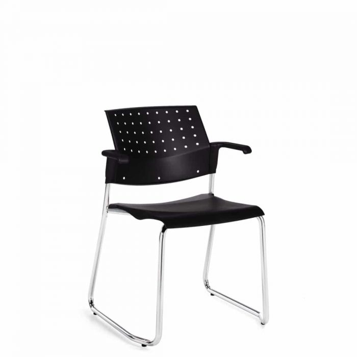 Stacking Armchair, Black Polypropylene Seat & Back, Chrome Sled Base (6523WS)