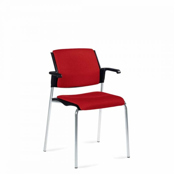 Stacking Armchair, Red Upholstered Seat & Back With Chrome Frame (6515)