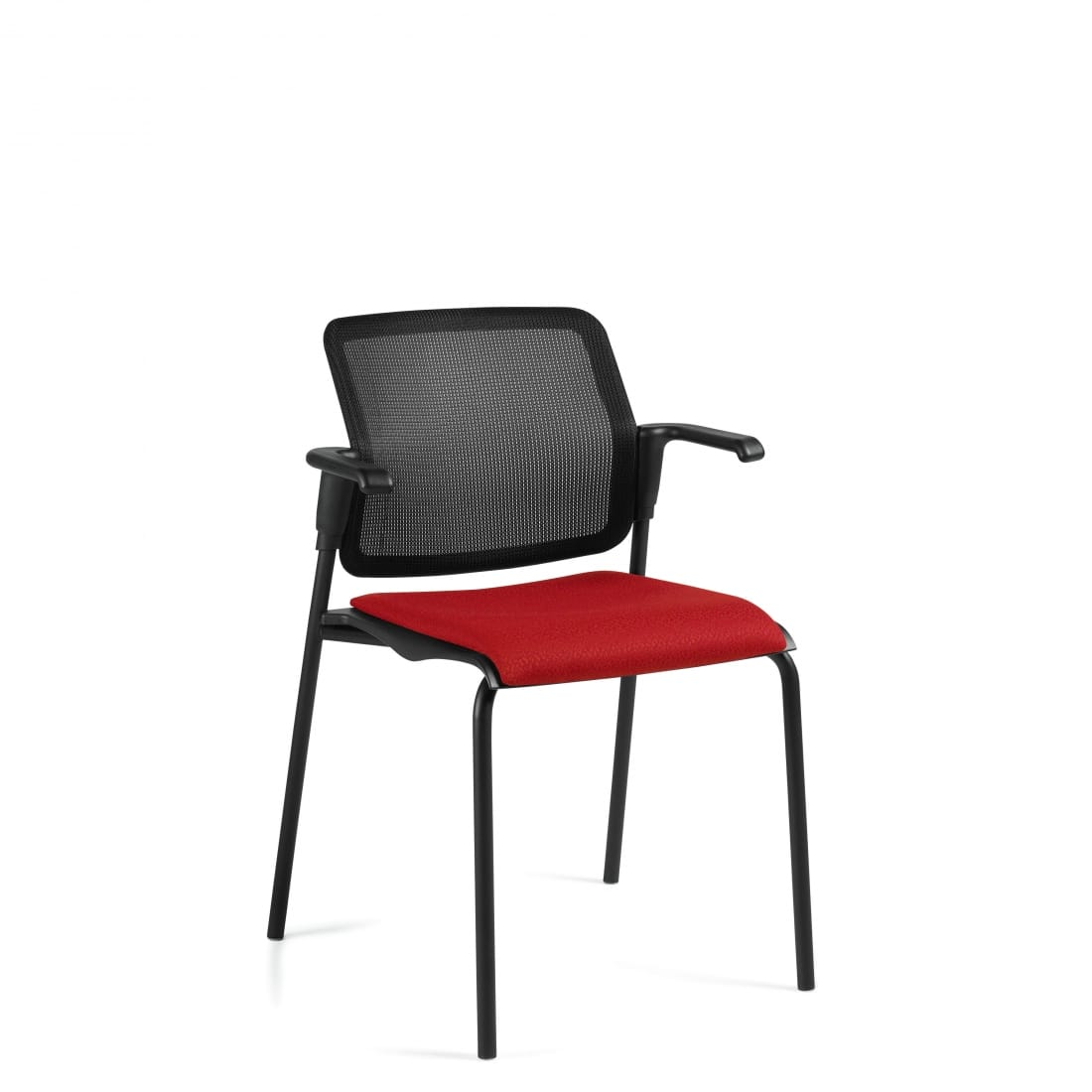 Stacking Armchair, Red Upholstered Seat & Black Mesh Back With Black Frame (6514MB)