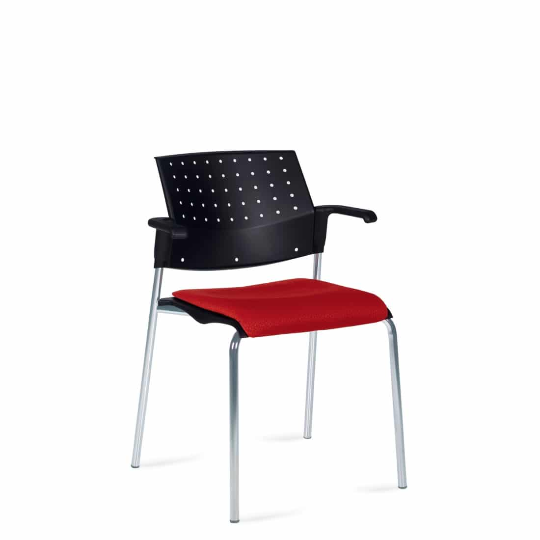 Stacking Armchair, Red Upholstered Seat & Black Polypropylene Back With Chrome Frame (6514)