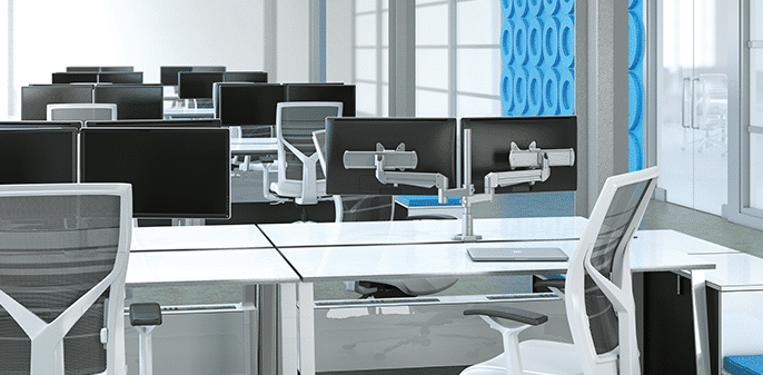 Benching systems with mounted monitor arms | Collaborative Office Interiors