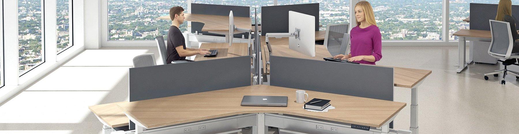 Standup desks in a bright modern office