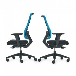 two ergonomic chairs back to back with blue