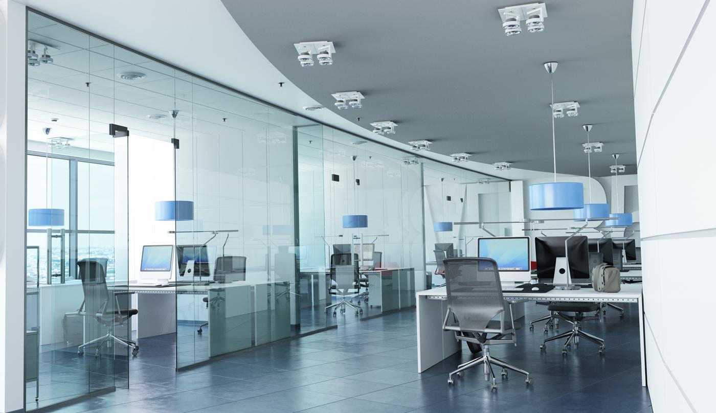 modern glass wall office design
