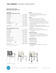 Thumbnail for 2017 Vion guest chair specification sheet.
